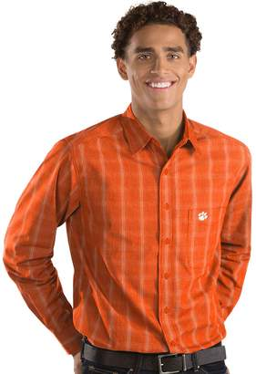 Antigua Men's Clemson Tigers Plaid Pattern Button-Down Shirt