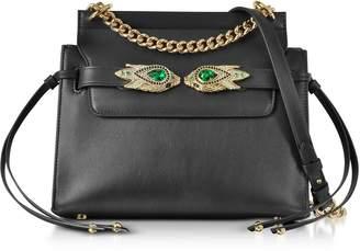 Roberto Cavalli Black Leather Shoulder Bag W/goldtone And Crystals Snake Heads