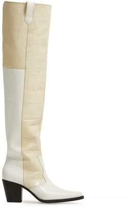 Ganni Nadine Knee High Crocodile Effect Leather Boots - Womens - White