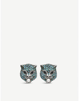 Gucci Le Marché des Merveilles 18ct yellow-gold, blue topaz, black spinal and pearl earrings