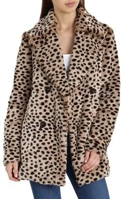 AVEC LES FILLES Leopard Print Faux Fur Coat