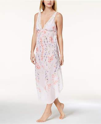 Linea Donatella Deandra Lace-Trim Floral-Print Nightgown