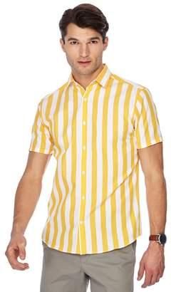 J by Jasper Conran Big And Tall Yellow Bold Stripe Print Short Sleeve Shirt