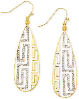 Simone I. Smith White Crystal Greek Key Drop Earrings in 18k Gold over Sterling Silver