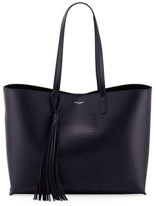 1e5f30d6d243 Saint Laurent Smooth Leather Perforated Shopping Tote Bag