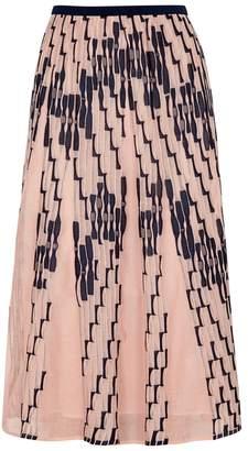 M Missoni Pink Textured Fine-knit Midi Skirt