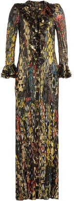 Roberto Cavalli Floor Length Dress with Silk and Metallic Thread