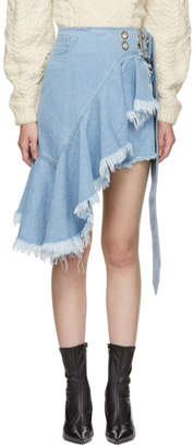 Marques Almeida Blue Wrap Buckle Frill Miniskirt