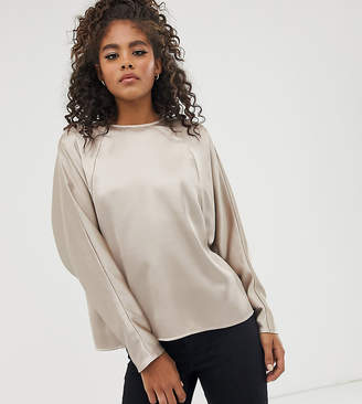 dd99b7b7ce38 Asos Tall DESIGN Tall satin batwing top with wrap back