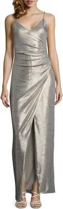 Betsy & Adam Metallic Wrap Gown