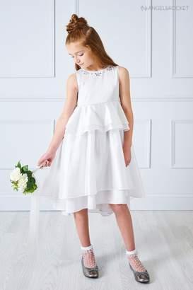 Girls Angel & Rocket Silver Jewel Trim Dress - Silver