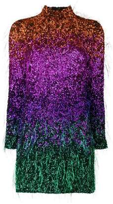 Ashish sunset ombré tinsel mini dress