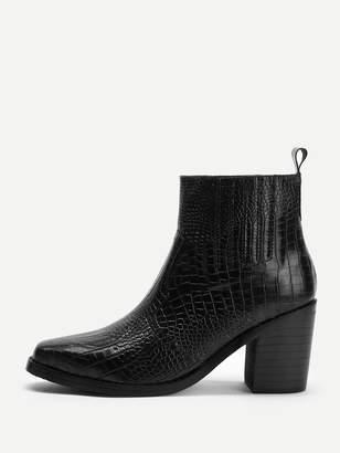 Shein Crocodile Pattern Block Heeled Ankle Boots