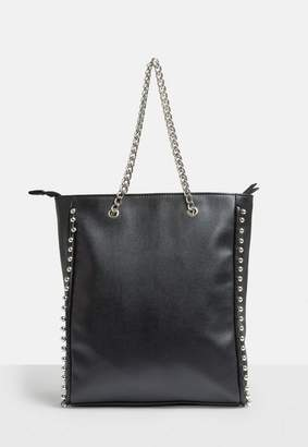 Missguided Black Beaded Chain Shopper Bag, Black