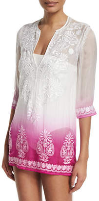 Marie France Van Damme Embroidered-Front Ombre Short Tunic Coverup