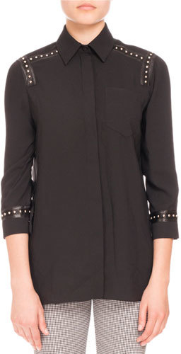 Altuzarra Altuzarra Studded-Trim 3/4-Sleeve Blouse, Black
