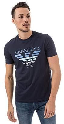 Armani Jeans Men's Regular Fit Pima Faded Plastisol Logo T-Shirt