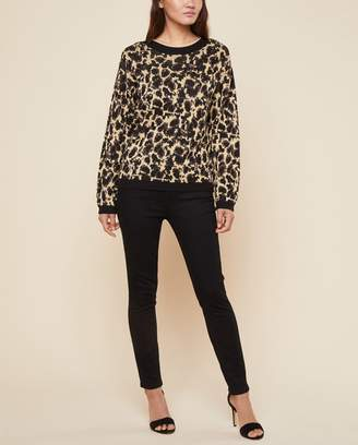 Juicy Couture Metallic Leopard Jacquard Pullover Sweater