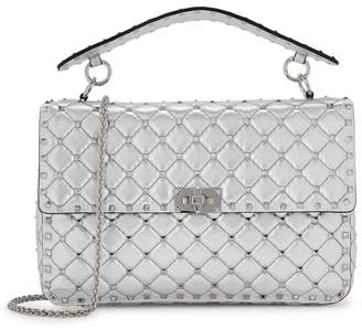 Valentino Rockstud Spike Large Silver Leather Shoulder Bag