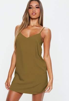Missguided Khaki Crepe Slip Shift Dress