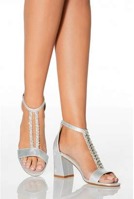 Quiz Silver Diamante T-Bar Heeled Sandals