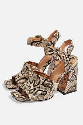 Topshop SAHARA Snake Heeled Sandals