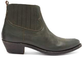 Golden Goose Crosby Leather Ankle Boots - Womens - Dark Green