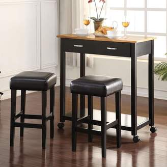 ACME Furniture ACME Maroth 3-Piece Pack Counter Height Set, Black PU & Black