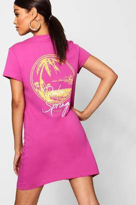 boohoo Palm Springs Print T-Shirt Dress