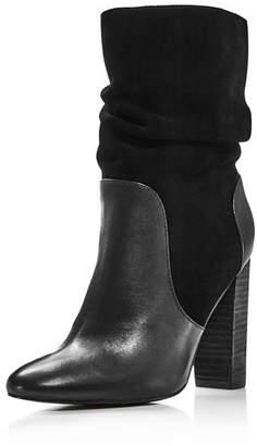 Charles David Women's Round Toe Leather & Suede High-Heel Booties
