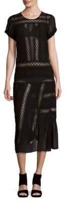 N°21 Raw Silk Pleated-Design Semi-Sheer Dress