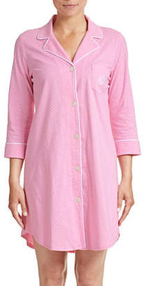 Lauren Ralph Lauren Dotted Notch Collar Sleepshirt
