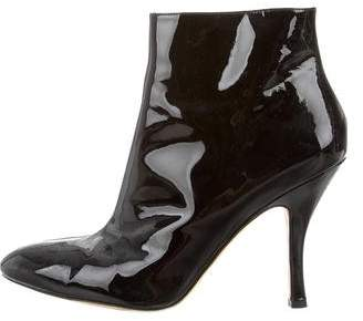 Via Spiga Patent Leather Pointed-Toe Boots