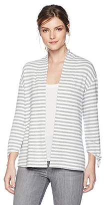 Three Dots Women's Cape Cod Stripe Loose Open Cardigan