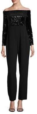 Eliza J Sequin Long Sleeve Jumpsuit