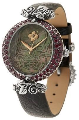 Mother of Pearl Barbara Bixby Steel/18K Mother-of-Pearl & Gemstone Skull Watch