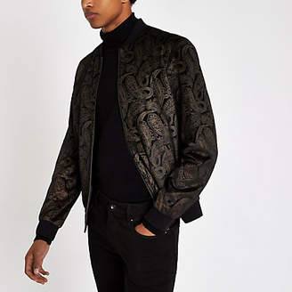 River Island Brown and gold paisley velvet bomber jacket