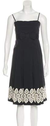 Robert Rodriguez Embroidered Pleated Dress