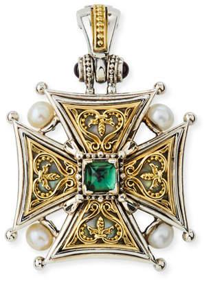 Konstantino Hestia Cross Pendant w/ Green Tourmaline
