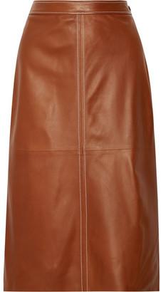 Erith Leather Midi Skirt - Brown