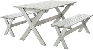 Safavieh Marina Indoor / Outdoor Dining Table & Bench 3-piece Set