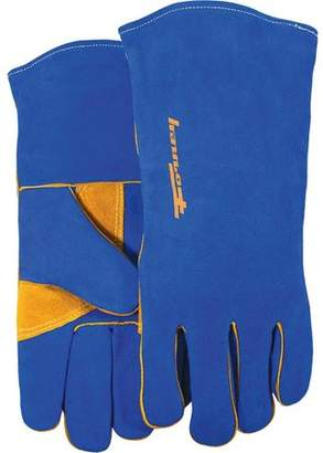 Forney 53423 Extra Large Men's Blue Leather Heavy Duty Welding Gloves With Reinforced Thumb