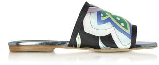 Emilio Pucci Cornflower Printed Canvas And Leather Flat Slide Sandals
