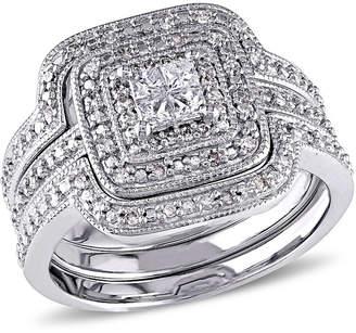 MODERN BRIDE 3/8 CT. T.W. Diamond Sterling Silver Art Deco Style Bridal Set