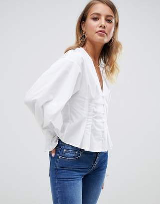 Asos Design DESIGN oversized blouse in cotton with button through and long sleeves