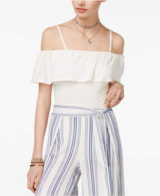 American Rag Juniors' Off-The-Shoulder Ruffle Bodysuit, Only at Macy's $29.50 thestylecure.com