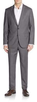 HUGO BOSS Tailored-Fit Harvers Pin Dot Wool Suit