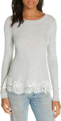 Rebecca Taylor Lace Trim Sweater