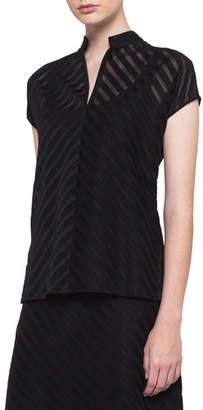 Akris Zip-Front Cap-Sleeve Diagonal Jacquard Cotton Voile Blouse
