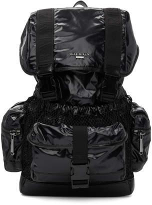 Balmain Black Elite Shiny Nylon Backpack